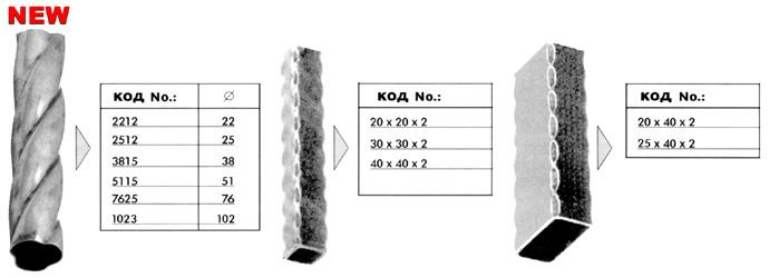 Художественный металлопрокат: витая труба, профиль декоративный 40х40, 20х20, 40х25, 40х20
