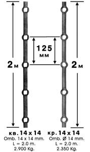 Кованый квадрат с просечными отверстиями. Прошитый профиль. Артикул 42/1 и 42/8